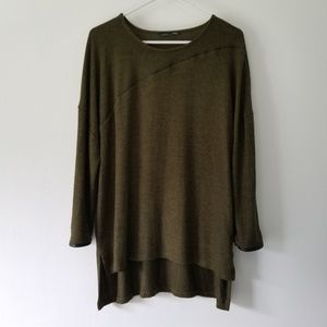Oversized Olive Sweater with Faux Leather Trim
